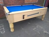 Beech 7x4 slate bed pub pool table. Coin operated or freeplay. New Recover. Free Local Delivery