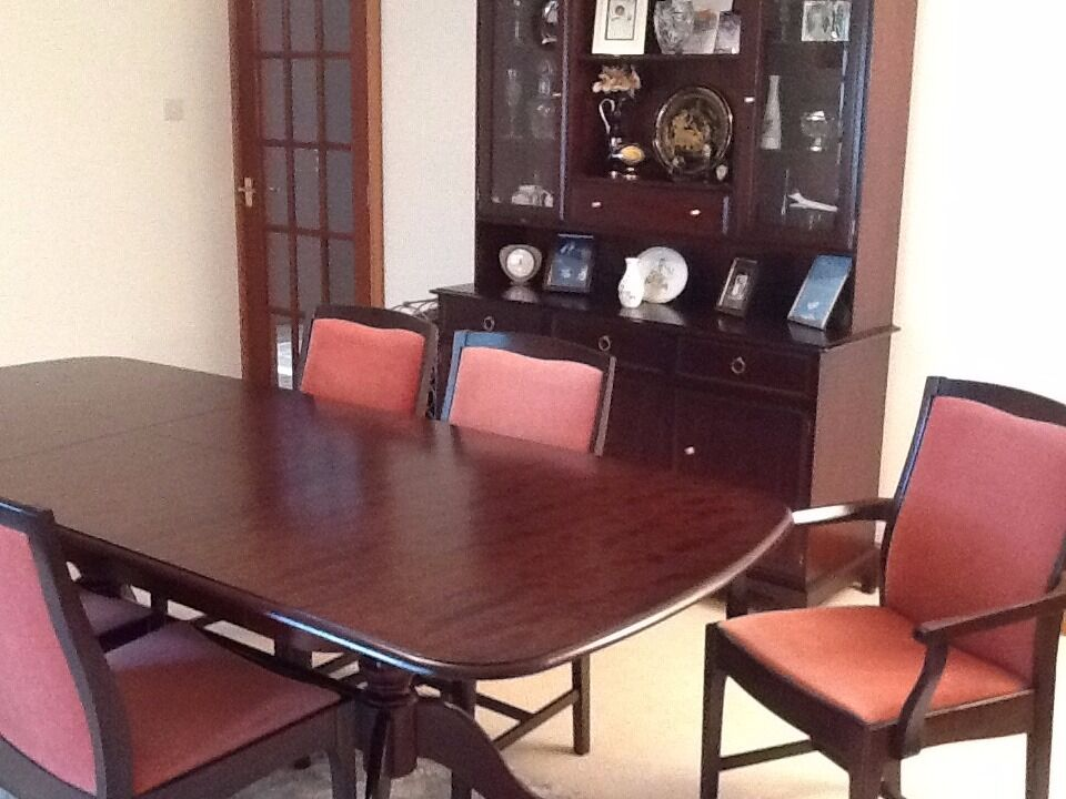 STAG Dining Room Table And 6 Chairs With Matching Corner Dresser Wall Unit