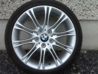 18INCH 5/120 BMW MV2 ALLOY WHEELS WITH TYRES FIT 3 SERIES ETC GOOD CONDITION