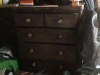 Dark oak chest of drawers