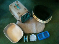 7 Piece Starter Kit for Cat/Small Dog - Pet Carrier, Cosy Bed, Rug, 2 Bowls, Tray and Toy