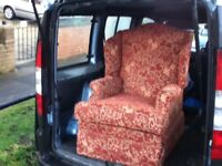 WINGED BACK HIGH SEAT FIRE SIDE CHAIR WITH MANUAL FOOT REST