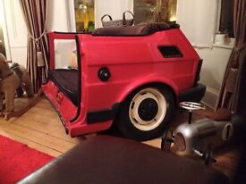 Classic Retro Fiat 126 Sofa Couch Man Cave Bespoke Up-Cycle Garage Shed Showroom