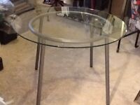 Ikea round clear glass kitchen dining or patio table £20