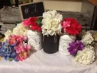 Beautiful Homemade Painted Jar Vases