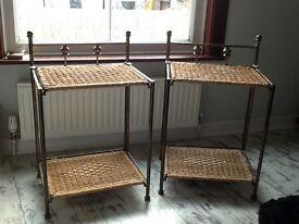 2 metal & wicker bedside tables