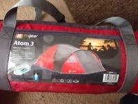 Atom 3 tent and camping equipment