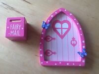 Wooden pink fairy door and fairy mail post box