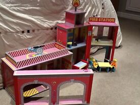 Wooden fire station and furniture