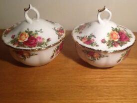 Pair of Royal Albert Old Country Roses lidded powder (or sugar) bowls
