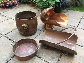 Copper & Brass COAL SCUTTLE, COAL BIN, LOG HOLDER & LOG BIN