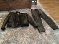 Leather jacket and trouser new waste 30/32 and medium jacket