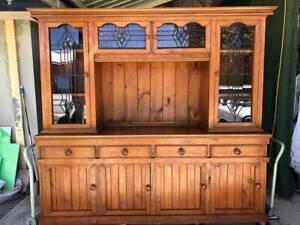 VINTAGE wooden kitchenette glass doors with led light cabinet display