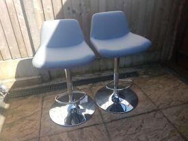 Upholstered Bar Stool - Grey x 2
