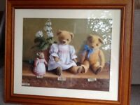 For sale a lovely picture of three teddy bears,