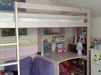 High sleeper bed with desk, sofa, pull out bed