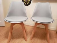 2x Tulip style dining chairs NEW
