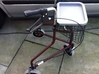 mobility walker rollator with 3 wheels brakes and tray