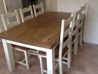 Solid farmhouse style table and 6 chairs