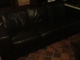 Brown leather 3 seater sofa £80
