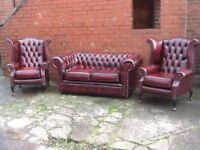 LEATHER CHESTERFIELD 3 PIECE SUITE ANTIQUE OXBLOOD RED LEATHER QUALITY BEAUTIFUL SUITE CAN DELIVER