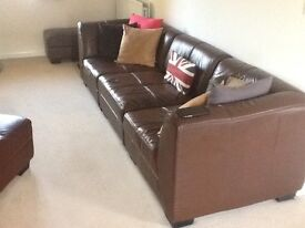 5 Piece brown soft Italian leather modular settee