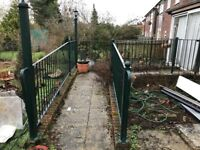 heavy duty green metal railings for patio/disabled access with fitted lightings and side gate access