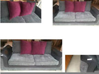 NEW STILL HAS BAR CODE ON THE ARM STUNNING 2 SEATER SOFA BLACK SUEDE ARMS GREY AND BURGUNDY CUSHIONS