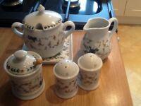 6 piece French condiment set. (Porcelain d'Auteuil )Never Used. Perfect condition.