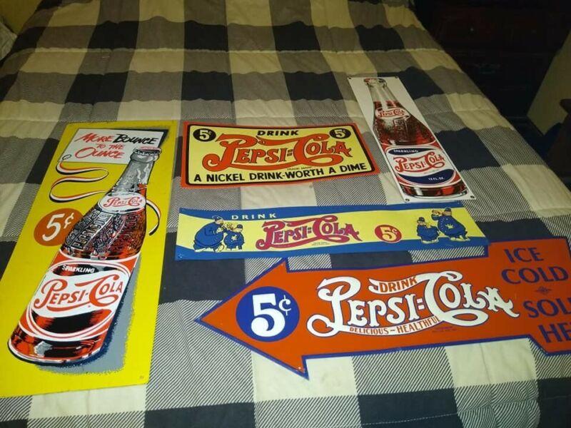 """""""5"""" Vintage Pepsi Cola Metal Signs"""