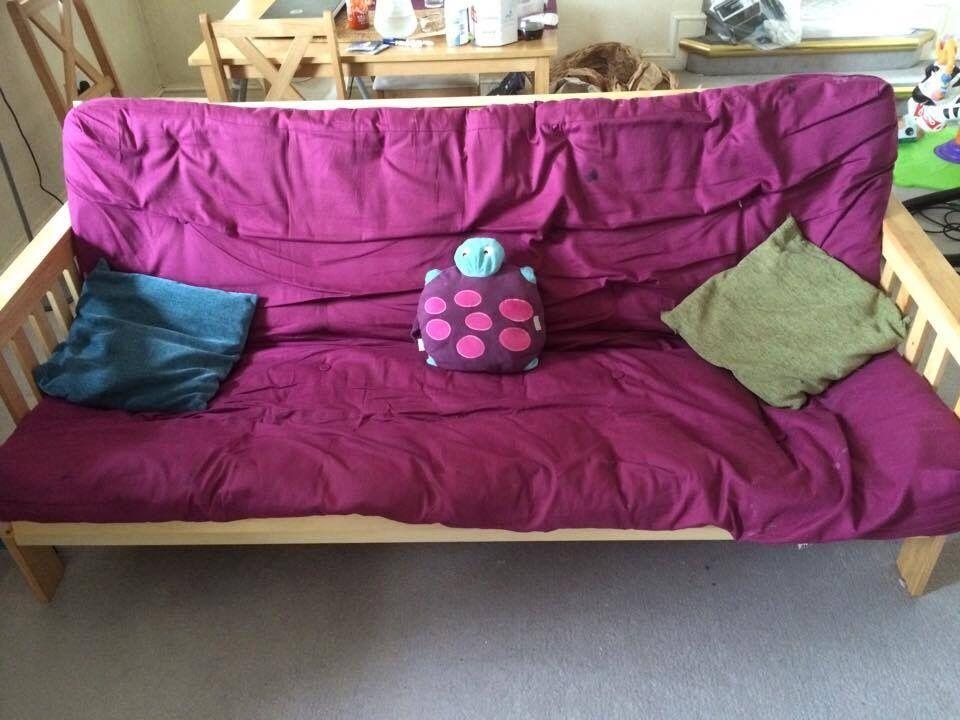 Colourmatch Cuba Futon Sofa Bed With Mattress Purple Fizz