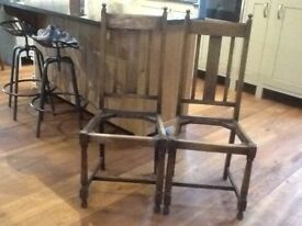 2 old oak dining chairs for restoration
