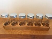Wooden Spice rack with 6 glass jars