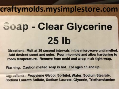 25 LBS OF CLEAR GLYCERINE SOAP BASE, MELT AND POUR SOAP MAKING