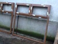 double glazed window frames X 2 - PVC oak finish 160cm W X 152cm H / 152cm W X 152 cm H packaged