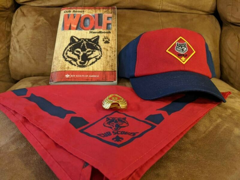 Cub Scout Red Wolf Handbook Plus Uniform Hat, Neckerchief, and Slide