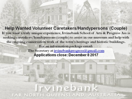Wanted: Caretaker / Handy couple for Heritage town Irvinebank