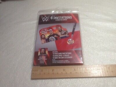 Wwe Invitations (WWE WRESTLING STARS  Postcard Invitations Kids' Birthday Party Supplies)