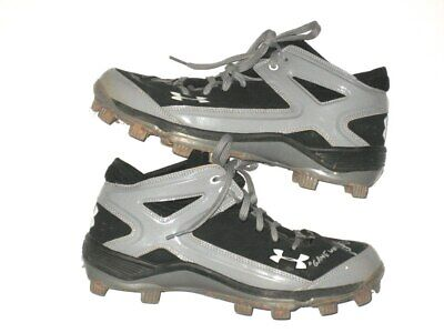 f806b5f19afa JOSH RUTLEDGE BOSTON RED SOX GAME USED & SIGNED BLACK & GRAY UNDER ARMOUR  CLEATS