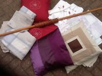 Curtain pole and job lot of curtains etc