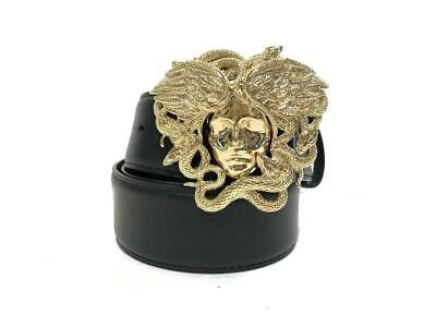 Versace Black New Leather with Gold Medusa Buckle Limited Belt size 85