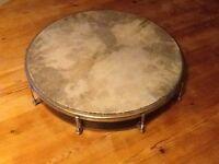 Large Tambour drum. This drum has a natural skin top