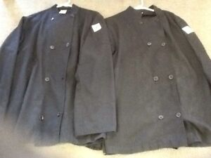 2 chef coats double button with hat (black)