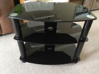 """Black glass TV stand for 32"""" TV"""