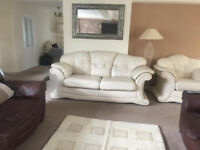 real italian nappa leather sofa's 2 x 3 seater's brown ,,,,, 1 x 3 piece cream