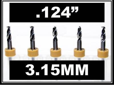 .124 - 3.15mm - 18 Shank Carbide Drill Bits Five Pcs Wood Plastic Metal Cnc R