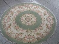 Woven wool and mixed fibre circular rug 125cm diameter(across)-vacuumed&cleaned,excellent condition