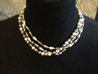 Vintage Necklace Plastic Beads 3 Strands Geometric Shapes ~ Bronze Beige Grey