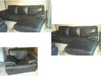 DFS BLACK LEATHER CHAISE LONGUE CORNER SOFA WITH MATCHING CHAIR ULTIMATE DESIGN FOR GREAT COMFORT