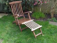 Reclining garden chair (steamer chair) with foot rest
